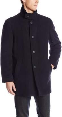 Calvin Klein Men's Coleman 34 Inch Overcoat with Knit Bib NV Solid