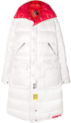 R 13 Brumal - + Reversible Hooded Quilted Shell Down Jacket - White
