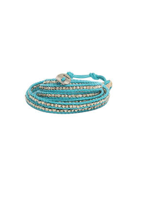 Chan Luu Turquoise Leather Wrap Bracelet