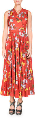 Erdem Noemi Sleeveless Wrap-Top Long Pleated Floral-Print Dress