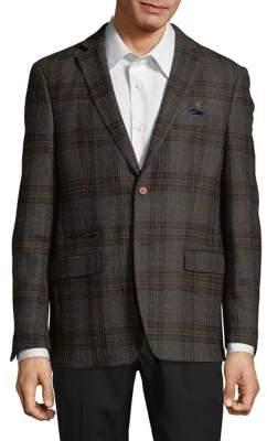 Tallia Orange Plaid Wool Jacket