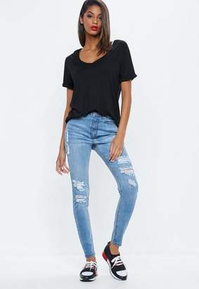 Missguided Blue Highwaisted Distressed Skinny Jeans, Blue
