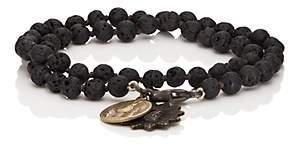 Miracle Icons Men's Vintage-Icon Beaded Wrap Bracelet-Black