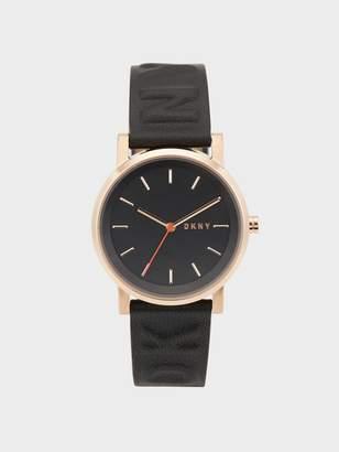 DKNY Soho Logo 34mm Black Embossed Leather Watch Black N/S