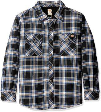 Dickies Men's Relaxed Fit Sherpa Lined Flannel Overshirt