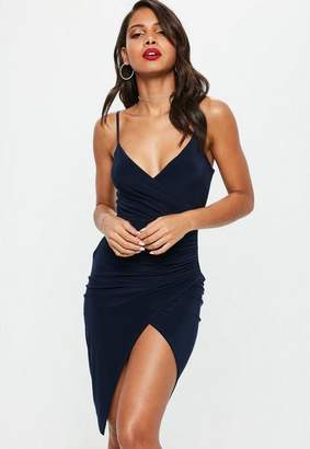 Missguided Navy Slip Ruched Split Side Midi Dress