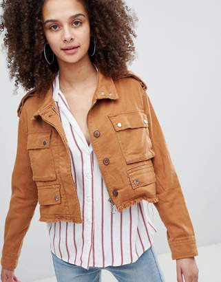 Bershka distressed cargo jacket