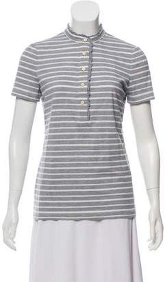 Tory Burch Short Sleeve Button-Up Top