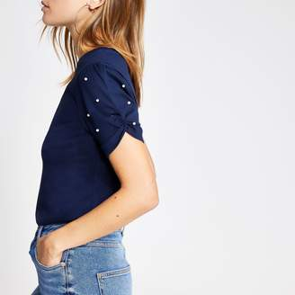 River Island Womens Navy pearl embellished knot sleeve T-shirt