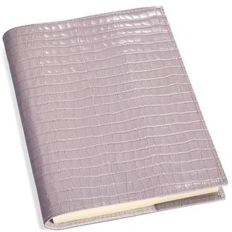 Aspinal of London A5 Refillable Leather Journal In Deep Shine Lilac Small Croc