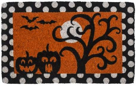 The Holiday Aisle Chesley Frightful & Delightful Handwoven Coconut Fiber Doormat