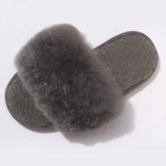 Holmes Samantha Steel Dark Grey Alpaca Fur Slides - 38-39 - Grey