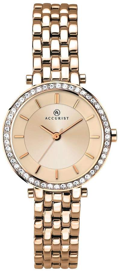Accurist Rose Tone Dial Stone Bezel Bracelet Ladies Watch