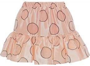 RED Valentino Gathered Polka-Dot Duchesse Satin Mini Skirt