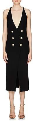 Balmain Women's Rib-Knit Double-Breasted Sleeveless Dress - Black