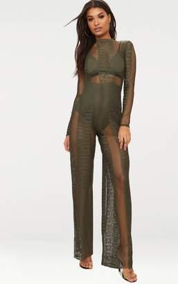PrettyLittleThing Khaki Lace High Neck Bra Insert Jumpsuit