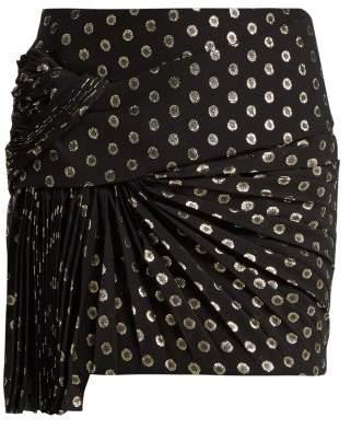Saint Laurent Fil Coupe Silk Blend Mini Skirt - Womens - Black Gold