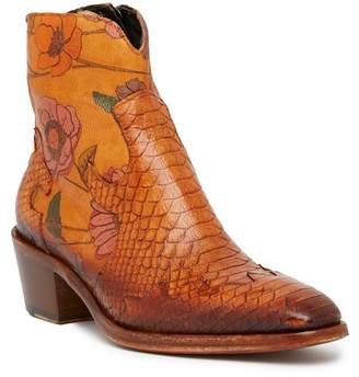 Jo Ghost Square Toe Snake Printed Leather Texan Bootie