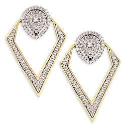Pirouette Plevé Women's 18K Yellow Gold & Diamond Pear-Shaped Convertible Earrings