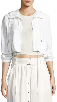 A.L.C. Broderick Cropped Hooded Jacket, White