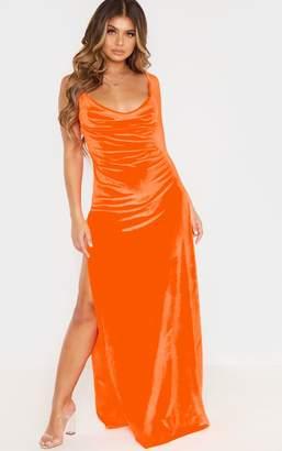PrettyLittleThing Black Velvet Cowl Neck Strappy Maxi Dress