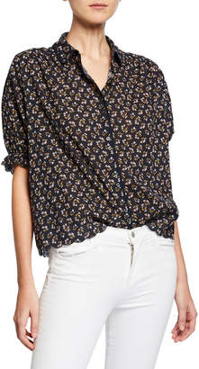 The Great The Whistle Floral Scalloped Button-Front Top