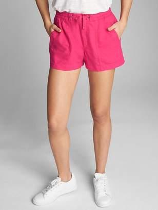"3"" Drawstring Utility Shorts in Linen-Cotton"