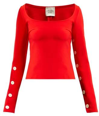 A.W.A.K.E. Mode Square Neck Long Sleeve Crepe Top - Womens - Red