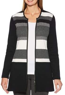 Rafaella Engineered Striped Cardigan