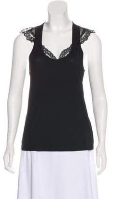 Balenciaga Lace-Trimmed Sleeveless Top Black Lace-Trimmed Sleeveless Top