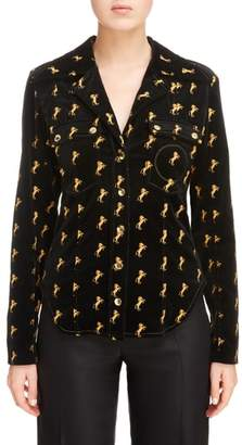 Chloé Horse Embroidered Velvet Jacket