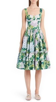 Women's Dolce&gabbana Hydrangea Print Fit & Flare Dress $1,995 thestylecure.com