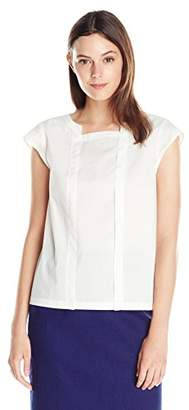 Lark & Ro Women's Cap Sleeve Button Popover Top