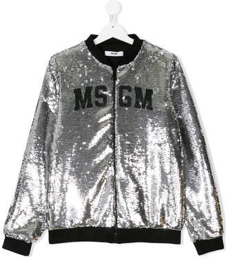 MSGM TEEN logo sequin embroidered bomber jacket