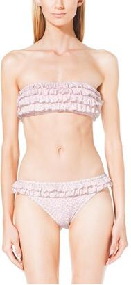 Michael Kors Floral-Print Ruffled Bandeau Bikini