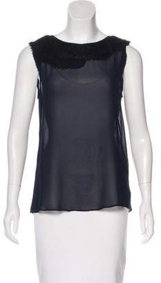 Theory Silk Lace-Trimmed Top