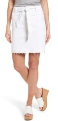 Caslon Belted Release Hem Stretch Cotton Twill Skirt