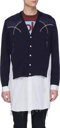 John Undercover Johnundercover Stripe shirt panel ripped patchwork cardigan