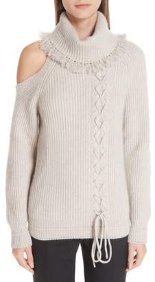 Yigal Azrouel Cable Knit Cashmere Turtleneck Sweater