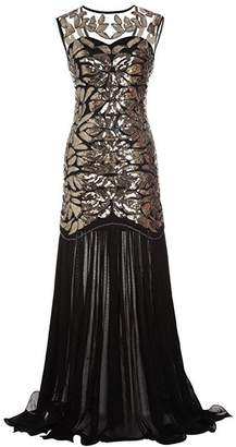 M MAYEVER 1920s Long Prom Dresses Sequins Beads Gatsby Evening Party Gown & Headband (S, )