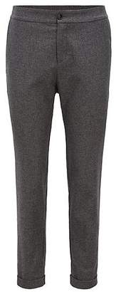 HUGO BOSS Regular-fit wool-blend trousers with rolled-up hems