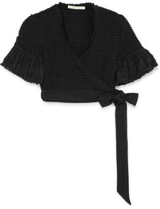 Jonathan Simkhai Cropped Lace-trimmed Ruffled Stretch-knit Wrap Top - Black