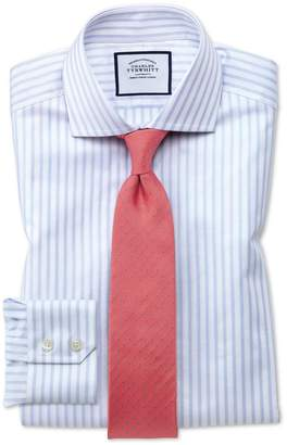 Charles Tyrwhitt Extra Slim Fit Spread Collar Textured Stripe Blue and White Cotton Dress Shirt Single Cuff Size 15.5/33