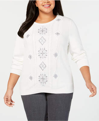 Alfred Dunner Plus Size Stocking Stuffers Embroidered Sweater