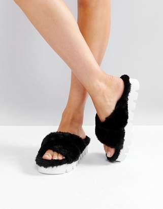 Glamorous Black Furry Cross Strap Slide Sandals