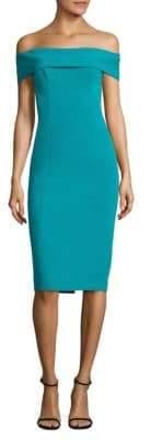 Theia Knee-Length Crepe Dress