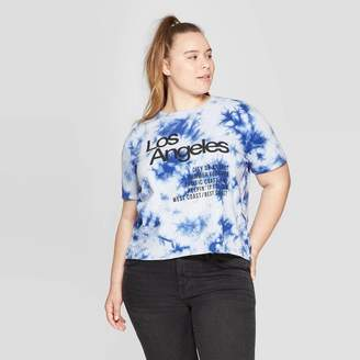 Mad Engine Women's Plus Size Short Sleeve Los Angeles Cropped Graphic T-Shirt - Mighty Fine (Juniors') - Blue