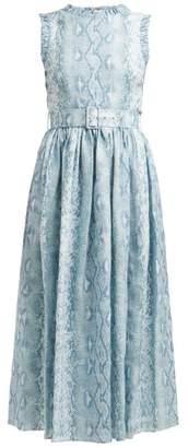 Emilia Wickstead Snakeskin Print Linen Dress - Womens - Blue Print