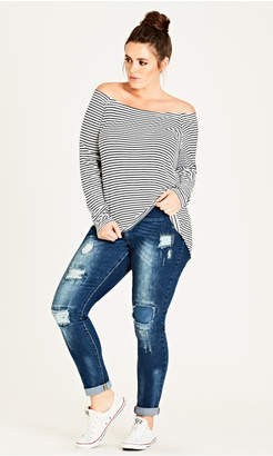City Chic Patched Skinny Harley Jean