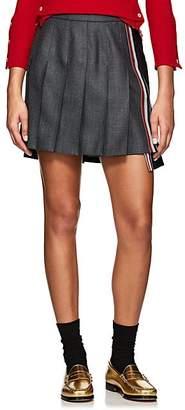 Thom Browne Women's Two-Tone Pleated Wool Miniskirt - Dark Gray
